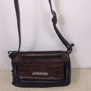 Brighton black and brown leather crossbody bag.
